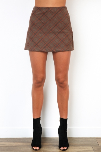 Casey Skirt - Mix Khaki/Orange