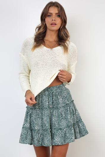 Next To You Skirt - Deep Green Print