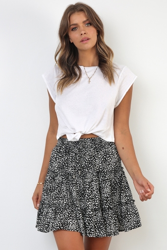 Next To You Skirt - Black Print