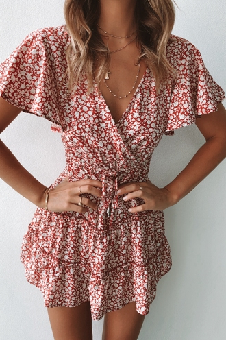 Coastline Dress - Maroon Print