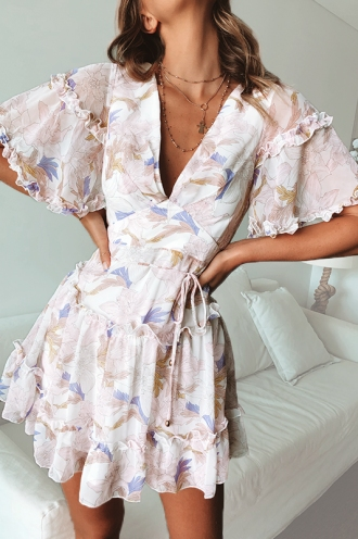 Sally Dress - White/Lilac Print