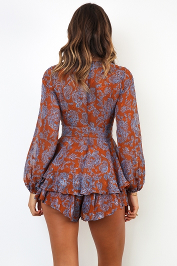 Truly Madly Deeply Playsuit - Brown/Blue