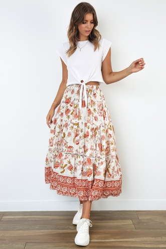 Dream Girl Skirt - White/Orange Floral