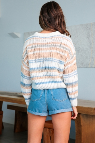 All Fired Up Jumper - White/Beige/Blue