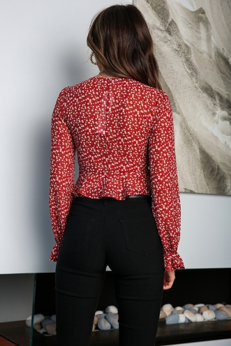 On The Luna Top - Red Floral