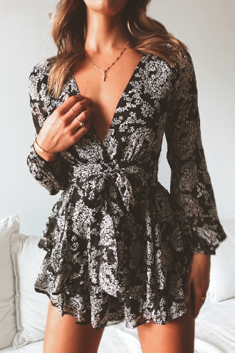 Truly Madly Deeply Playsuit - Black/White Print