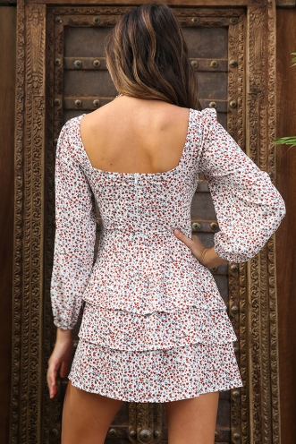 The Sweetest Thing Dress - White/Red Floral