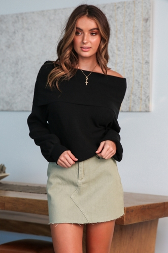 Casey Denim Skirt - Khaki