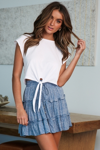 Next To You Skirt - Sky Blue Print