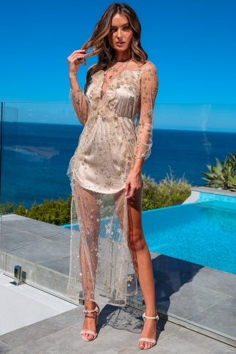 Shooting Star Dress - Gold Sequin