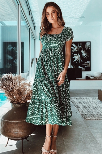 Take This Lonely Heart Dress - Green Floral