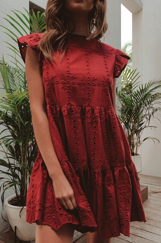 One Step Dress - Maroon