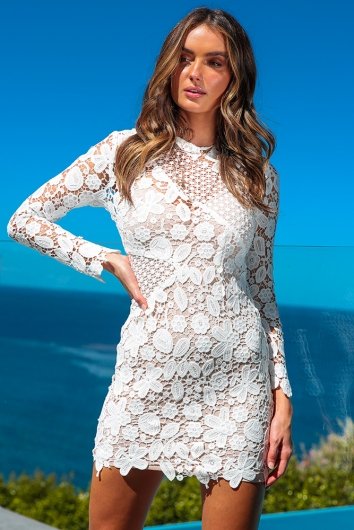 Cant Handle Me Dress - Beige/White Lace