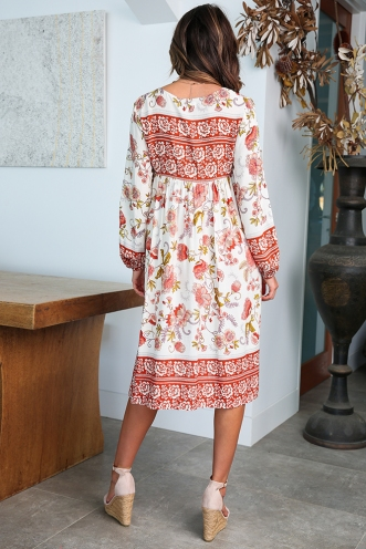Do Not Disturb Dress - White/Orange Floral