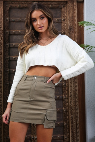 Lost In The City Skirt - Khaki