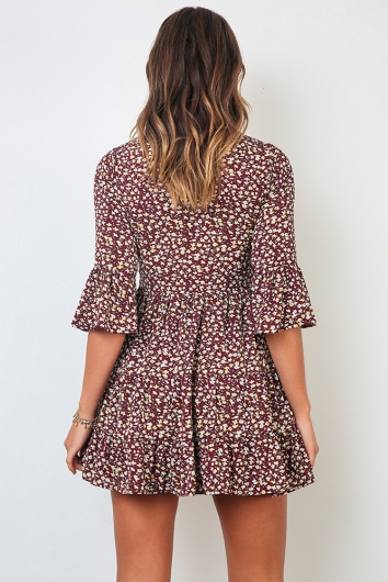 Nora Dress - Burgundy Print