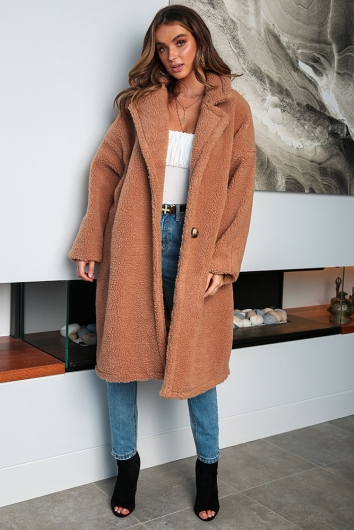 Chelsea Teddy Coat - Tan