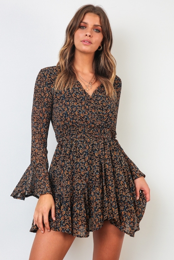 Melinda Dress - Navy Print