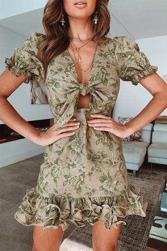 In Motion Dress - Green Floral