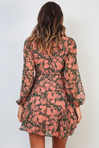 After Dark Dress - Green/Pink