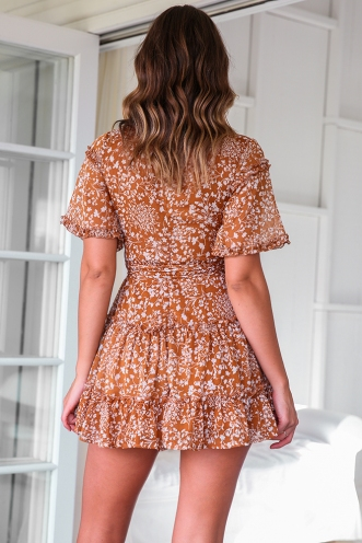 Joan Dress - Brown Print