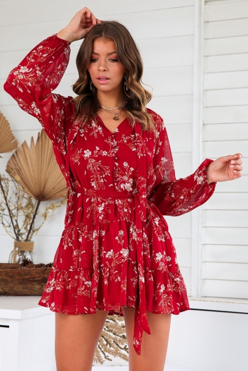 Wandering the Vineyard Dress - Maroon Print
