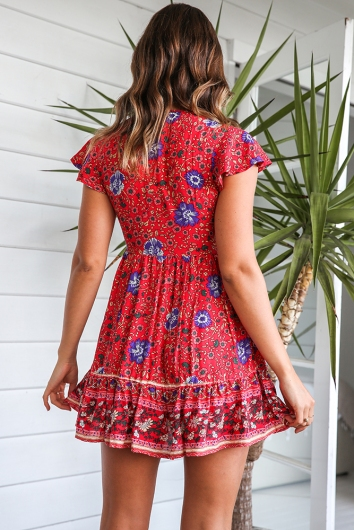 Blissful Days Spring Dress - Red Print