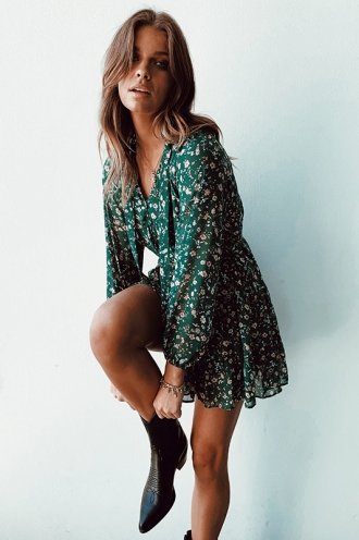 Wandering the Vineyard Dress - Green Print