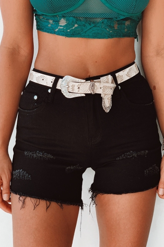 Juno Denim Shorts- Black