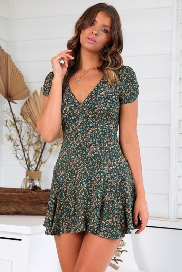 Shareen Dress - Mix Green/Beige