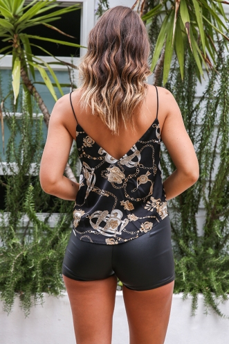 Make it Rain Top - Black/Gold baroque Print