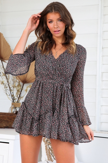 Melinda Dress - Black/Pink Print
