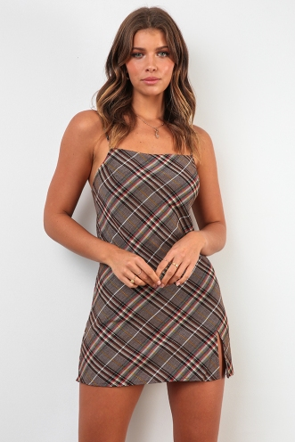 Empty Glasses Dress - Mix Brown