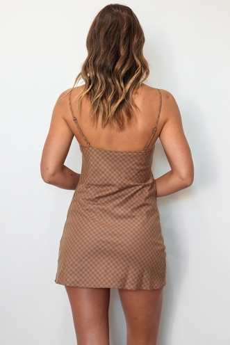 Empty Glasses Dress - Light Brown Check