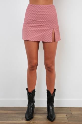 Britney Skirt - Pink Check