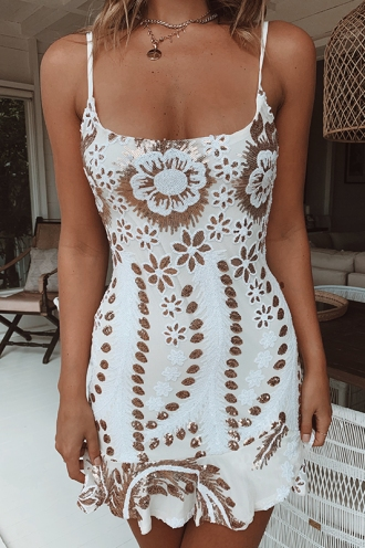 Daybreak Dress - White/Gold Sequin