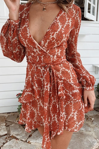 Fly With Me Dress - Beige/Red Print