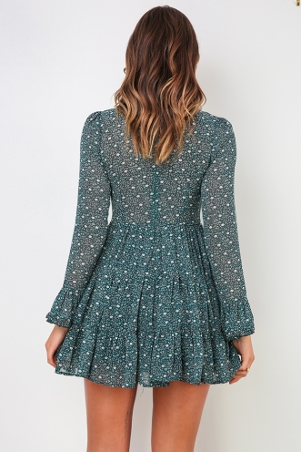 Kyla Dress - Teal Print