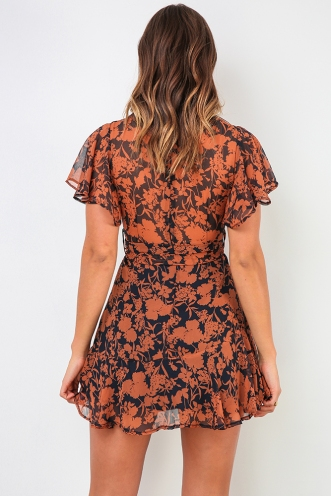Spencer Dress - Navy/Brown Print