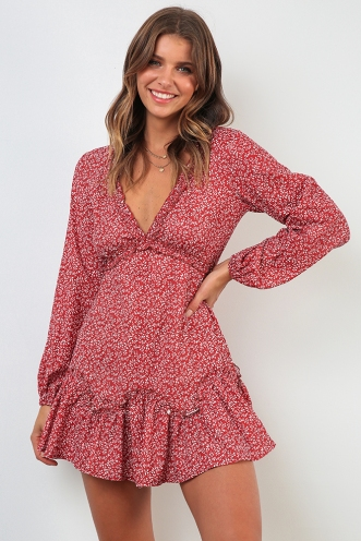 Paddington Dress - Maroon Print