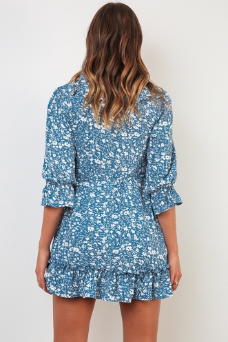 Zahara Dress - Blue Print