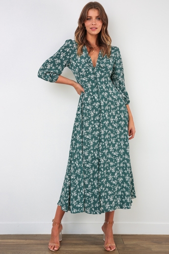 New Day Dress - Green Print