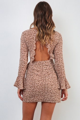 Vanessa Dress - Beige Print