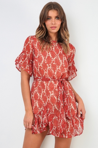 Evony Dress - Beige/Red Print