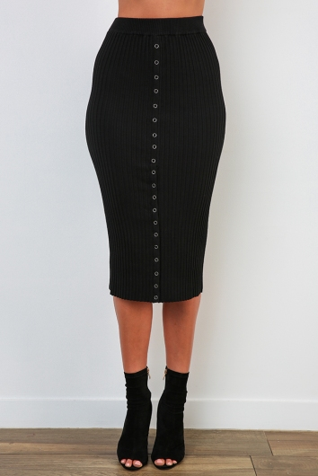 Button Me Up Skirt - Black