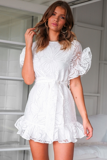 Kate Dress - White Pattern