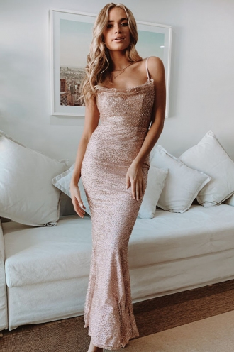 Magic Garden Dress - Rose Gold Glitter