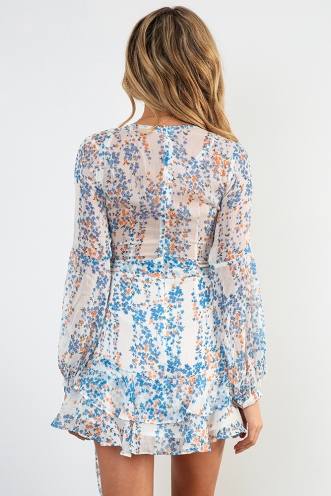 Fly With Me Dress - White/Blue Print