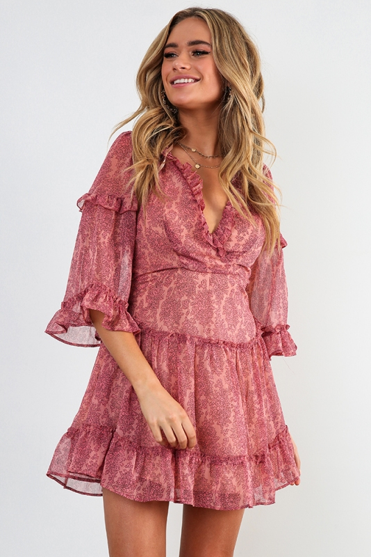 Changing Heart Dress Pink Print STELLY