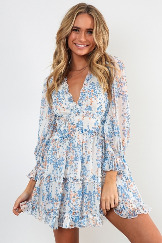 Essie Dress - White/Blue Floral